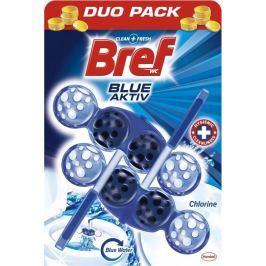 Bref Blue Aktiv Chlorine WC blok pro hygienickou čistotu a svěžest Vaší toalety, obarvuje vodu do modrého odstínu 2 x 50 g
