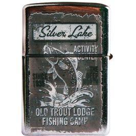 Bohemia Gifts & Cosmetics Retro zapalovač kovový benzínový s potiskem Silver Lake 5,5 x 3,5 x 1,2 cm