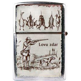 Bohemia Gifts & Cosmetics Retro zapalovač kovový benzínový s potiskem Lovu zdar běžový 5,5 x 3,5 x 1,2 cm