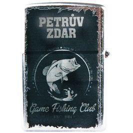 Bohemia Gifts & Cosmetics Retro zapalovač kovový benzínový s potiskem Petrův zdar 5,5 x 3,5 x 1,2 cm