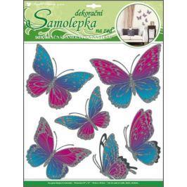 Room Decor Samolepky na zeď motýli růžovomodří s pohyblivými stříbrnými křídly 39 x 30 cm