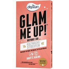 Depilan Glam Me Up! depilační pásky ze studeného vosku 16 kusů a hydratační ubrousky 2 kusy