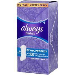 Always Dailies Extra Protect Long Plus s jemnou vůní slipové intimní vložky 44 kusů