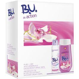 B.U. In Action Pure + Dry antiperspirant deodorant sprej pro ženy 150 ml + Abyssian Oil & Orchid Extract sprchový gel 250 ml, kosmetická sada