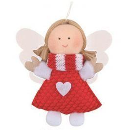 Anděl se srdíčkem červený 8 cm