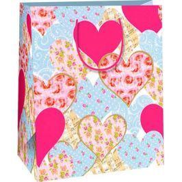 Ditipo Dárková papírová taška velká různá srdce 26,4 x 13,7 x 32,4 cm AB