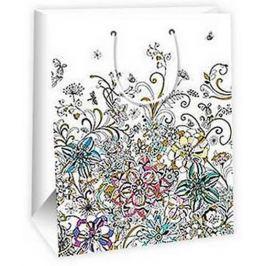 Ditipo Dárková papírová taška velká bílá, s květy 26,4 x 13,7 x 32,4 cm AB