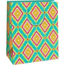 Ditipo Dárková papírová taška velká tyrkysová, barevné kosočtverce 26,4 x 13,7 x 32,4 cm AB