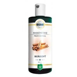 Topvet Professional Skořicový masážní olej, způsobuje lokální prohřátí pokožky, rozšíření cév, a tím odbourávání tuků v kůži 200 ml