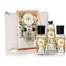 Panier des Sens Provence Citrus Travel Set sprchový gel 50 ml + tělové mléko 50 ml + krém na ruce 30 ml + taštička, cestovní kosmetická sada