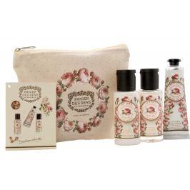 Panier des Sens Růže sprchový gel 50 ml + tělové mléko 50 ml + krém na ruce 30 ml + taštička, cestovní kosmetická sada