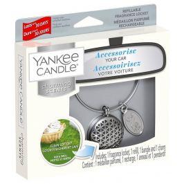 Yankee Candle Clean Cotton - Čistá bavlna základní vůně do auta kovová stříbrná visačka Charming Scents set Geometric 13 x 15 cm, 90 g