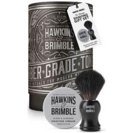 Hawkins & Brimble Men krém na holení 100 ml + štětka na holení + plechový box, kosmetická sada pro muže
