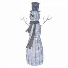 EMOS vánoční sněhulák ratanový, 124cm, vnitřní, studená bílá, časovač (1534212400)