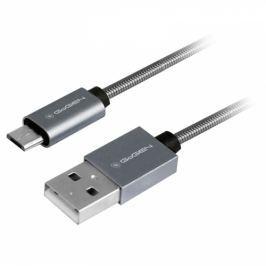 GoGEN USB / micro USB, 1m, ocelový, opletený (MICUSB100MM22)