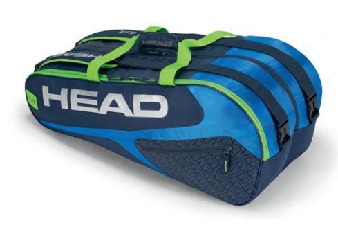 Taška na rakety Head Elite Supercombi 9R Blue/Green Tenisové tašky