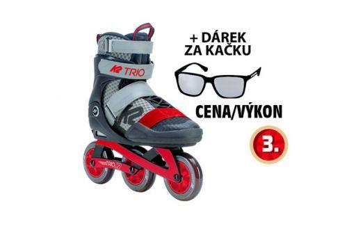 Inline brusle K2 TRIO 100 Gray Red  Kolečkové brusle