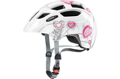 Dětská cyklistická helma Uvex Finale Junior LED bílá-růžová srdíčka Cyklistické helmy