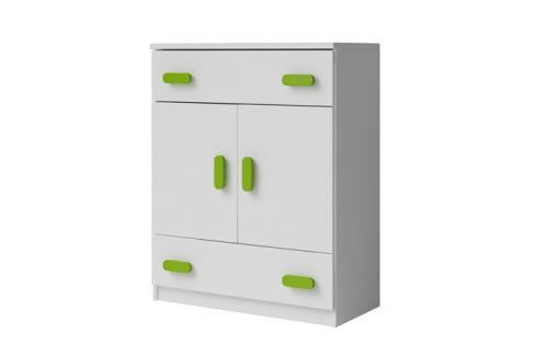 Falco Komoda Moon 03 2d2s - bílá/zelené úchytky Sady dětského nábytku