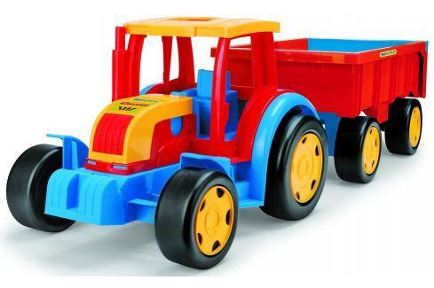 WADER Traktor Gigant s vlekem plast 102 cm - červený s červeným vlekem Traktory a zemědělské stroje