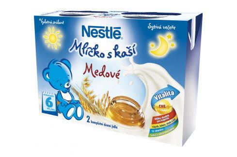 Nestlé Mlíčko s kaší Medové, 2x200ml Tekuté mléčné kaše