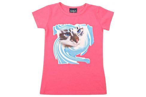 Escallante Dívčí tričko s kočičkou - růžové Trička s krátkým rukávem