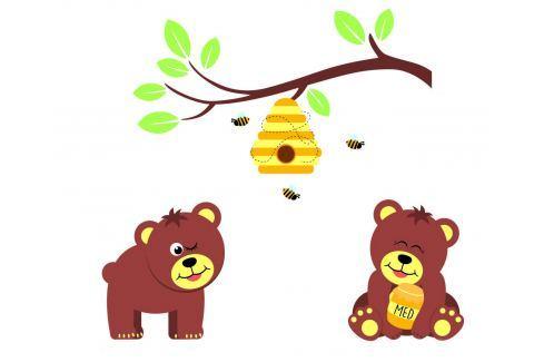 Housedecor Samolepka na zeď Medvídci a včelky Samolepky na zeď