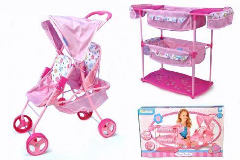 Hauck Sada pro panenky dvojčata kočárek + postýlka + židlička Příslušenství pro panenky