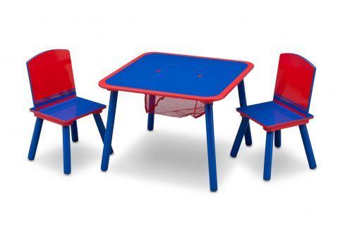 Delta Dětský stůl s židlemi - modro-červený Dětské stolky a židle