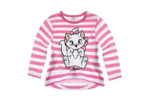 Disney Dívčí pruhované tričko s kočičkou Minnie - růžovo-bílé Trička s dlouhým rukávem