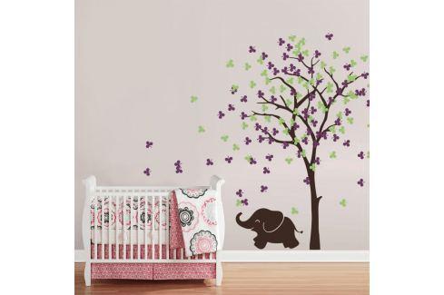 Housedecor Samolepka na zeď Slůně a strom fialovo-zelený Samolepky na zeď