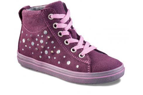 Richter Dívčí kotníkové tenisky s podšívkou a kamínky - tmavě fialové Zateplená a kotníková obuv