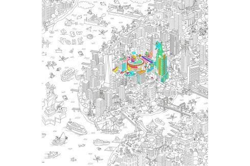 OMY DESIGN & PLAY Velké omalovánky XXL New York Samolepky na zeď