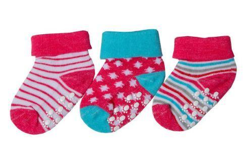 G-mini Dívčí set 3 párů protiskluzových ponožek - barevný Dětské ponožky a podkolenky