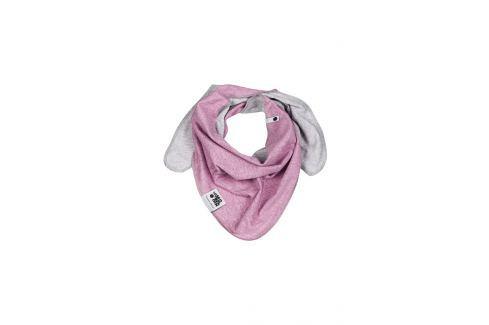 Lamama Dívčí oboustranný šátek - žíhaně fialovo - šedý Dětské nákrčníky, šály a šátky