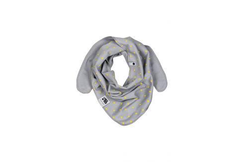 Lamama Dětský oboustranný šátek s trojúhelníčky - šedý Dětské nákrčníky, šály a šátky