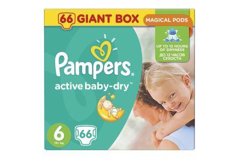 Pampers Active Baby-dry 6 Extra Large, 66 ks (15 kg+) - jednorázové pleny Jednorázové pleny