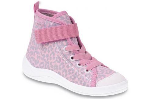 Befado Dívčí kotníkové tenisky s leopardím vzorem Tim - světle růžové Plátěné tenisky