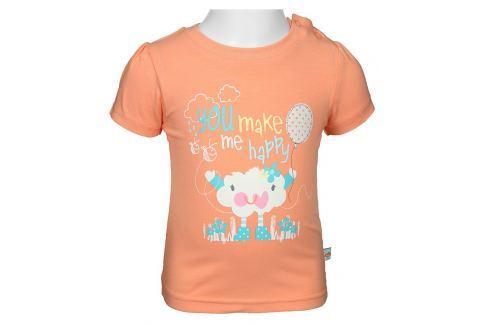 Blue Seven Dívčí tričko s mráčkem - lososové Trička s krátkým rukávem
