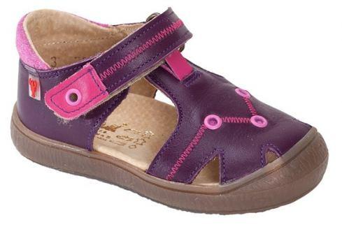 RAK Dívčí kožené sandály Miranda - fialové Sandály