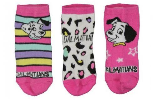E plus M Dívčí set 3 ks ponožek 101 Dalmatinů - růžový Dětské ponožky a podkolenky
