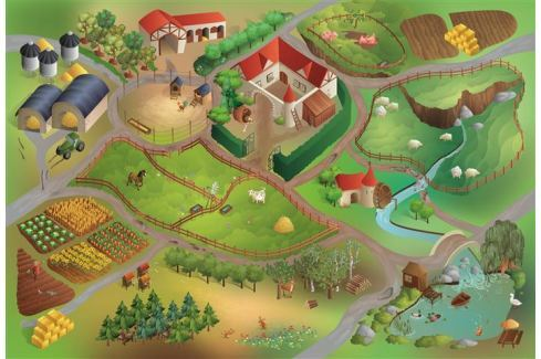 House of Kids Hrací podložka Farma 100x150 cm Koberce