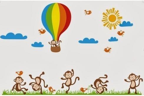 Ambiance Dekorační samolepky - opičky, ptáci a balón Samolepky na zeď