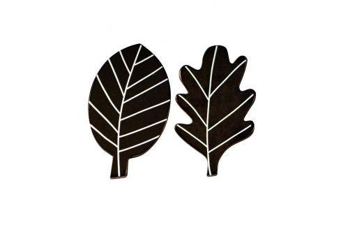 Little Lovely Company Dřevěné háčky Černé lístky, 2 ks Věšáky a ramínka