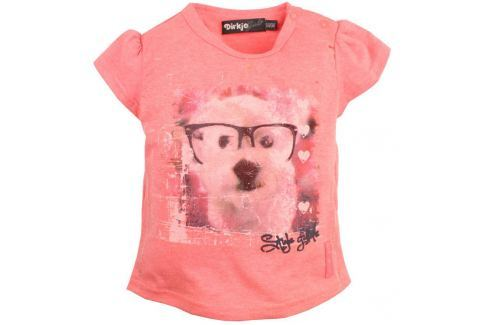 Dirkje Dívčí tričko s pejskem - růžové Trička s krátkým rukávem
