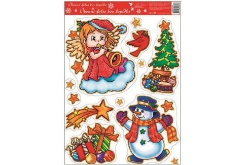 Room Decor Okenní fólie bez lepidla barevní andílci s píšťalou 42 x 30 cm Vánoční dekorace