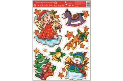 Room Decor Okenní fólie bez lepidla barevní andílci se zvonečkem 42 x 30 cm Vánoční dekorace