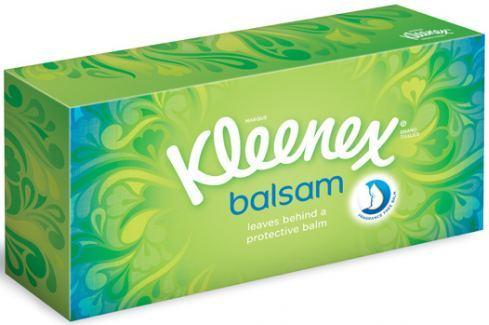 Kleenex Balsam hygienické kapesníky box 3 vrstvé 80 kusů Ubrousky a papírové kapesníky
