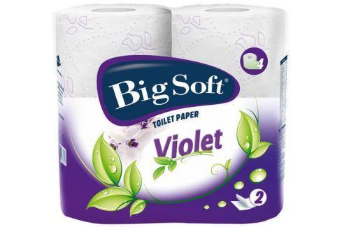 Big Soft Violet parfémovaný toaletní papír bílý 2 vrstvý 190 útržků 4 role Toaletní papír