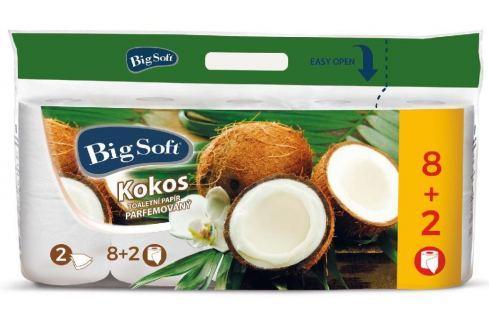 Big Soft Kokos parfemovaný toaletní papír bílý 2 vrstvý 200 útržků 10 kusů Toaletní papír